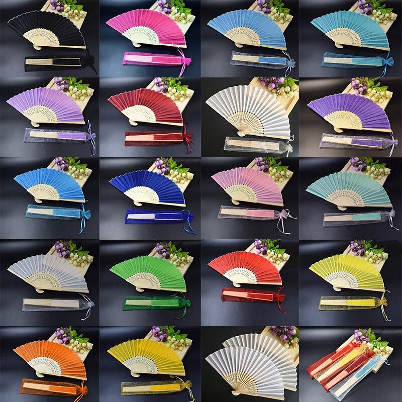 80 piezas de abanico de mano de seda personalizado en elegante caja de regalo de Lujo + ventilador de Favor de fiesta imprimir regalos de boda ventilador de boda en bolsa de Organza-in Obsequios para fiestas from Hogar y Mascotas    1