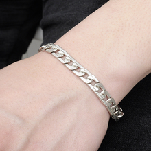 Wrist Chunky Men's Bracelets Silver Tone Hand Chain Curb Link Jewelry For Mens Gift Pulseiras masculinas