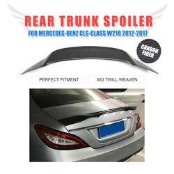 Dla Mercedes Benz cls-class W218 CLS350 CLS400 CLS500 CLS550 CLS63 AMG Sedan 2012 - 2017 Carbon Fiber na tylny bagażnik Lip Spoiler Wing