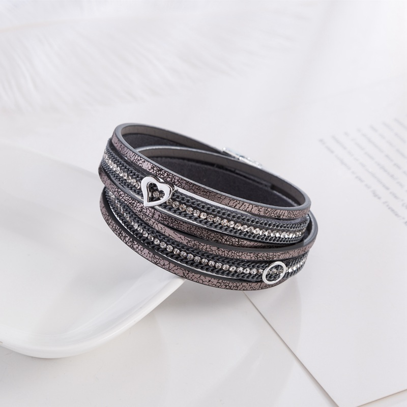 Heart Leather Bracelets For Women Men 3 Color Multilayer Crystal Magnet Punk Bracelet Charm Jewelry pulseras mujer moda 2018 in Charm Bracelets from Jewelry Accessories