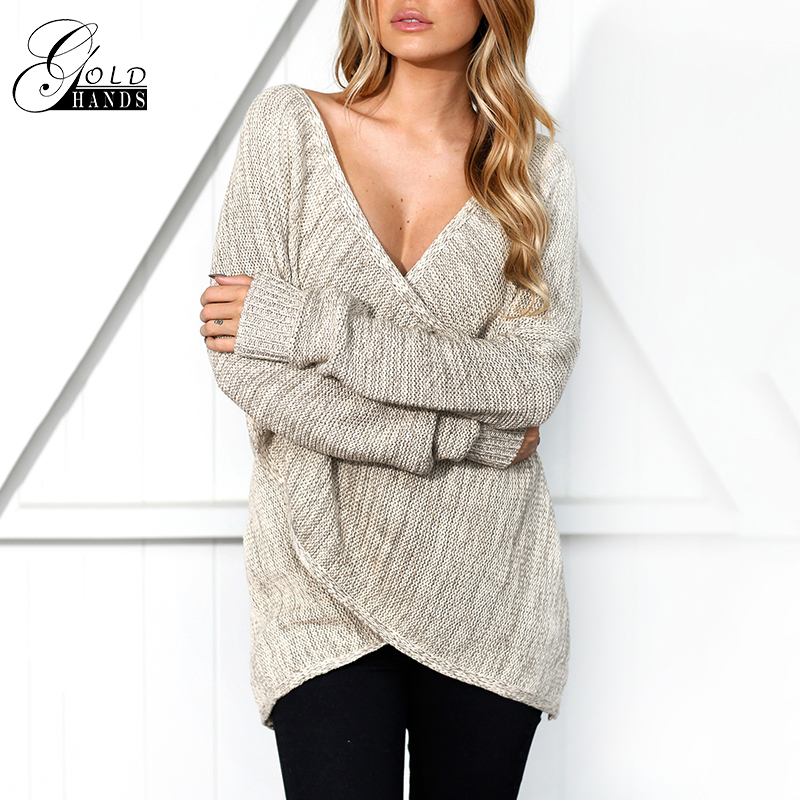 Gold Hands Women V neck Knitted Winter Sweater Women Batwing sleeve Pull Femme Christmas Sweater Autumn Pullover Casual Jumper