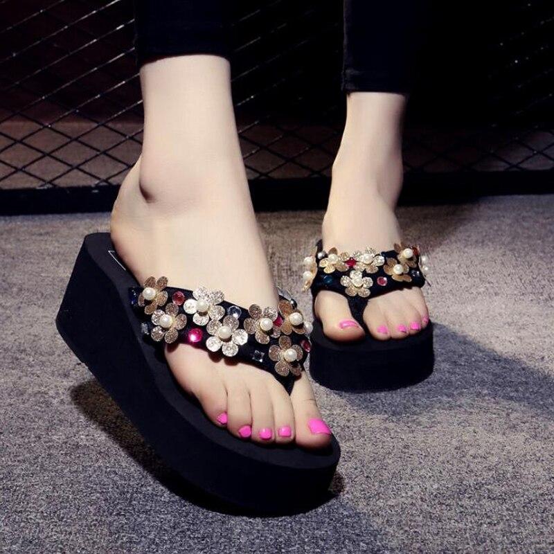 2018 Summer Women's Slippers Bling Soft Wedge Sandals High Heel Flip Flops Female Casual Platform Beach Shoes EVA Ladies Shoes