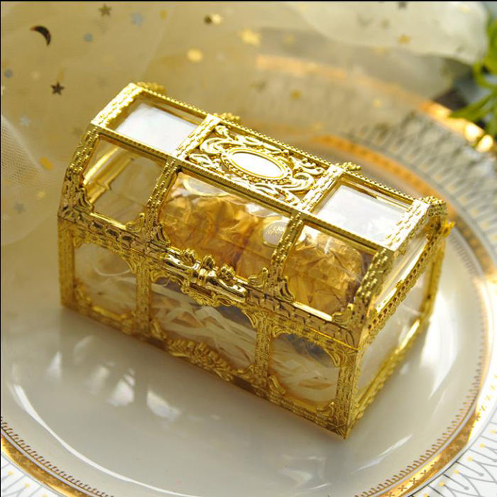 20pcs/16pcs Top Grade Large Size Treasure Box Gold Transparent Plastic Wedding Gift Boxes Baby Shower Candy Box Jewellery Box