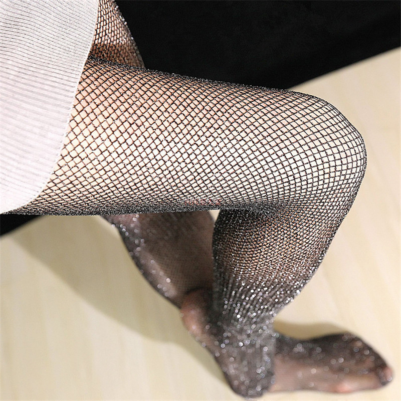 Buy Sexy Mesh Pantyhose Fishnet Tights Stockings Women Girls Sexy Bling Shiny Knee High Nylon Stockings Pantyhose