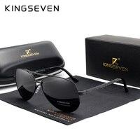 Мужские солнцезащ.очки с опр.из сплава KINGSEVEN, черно-серые солнцезащитные очки в форме