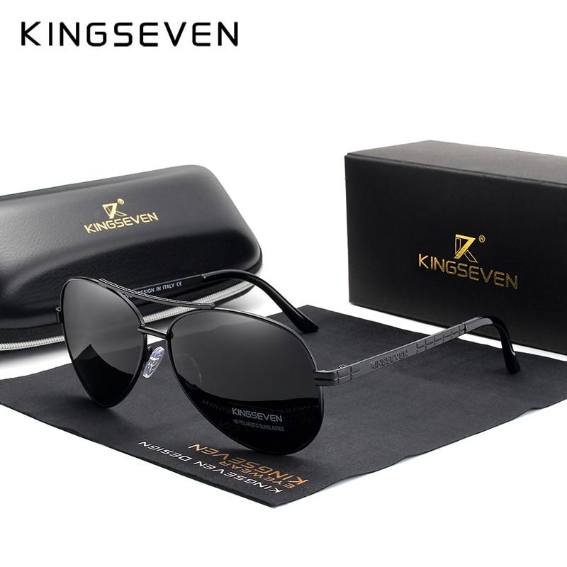 KINGSEVEN 2019 nuevo diseño de marco de aleación de aviación HD gafas de sol polarizadas para hombres protección UV400