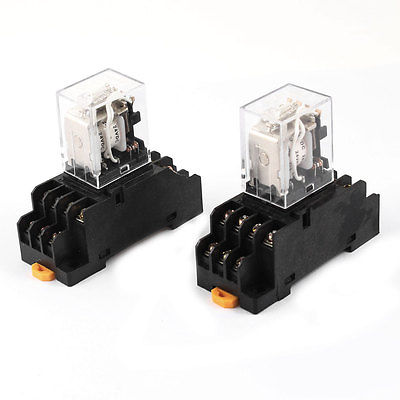 2 Pcs DC24V Coil 4PDT 14 Pins 4NO 4NC DIN Rail Electomagnetic Relay w Socket  Free Shipping цена и фото