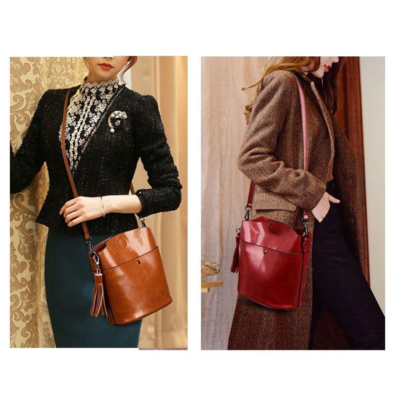 Black Crossbody Messenger Bag Women\'S Genuine Leather Shoulder Bag Female Bucket Bag Women Brown Handbags