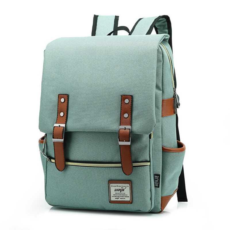 72006470b8 Vintage Fashion Women Backpack Large Canvas Backpacks Mens Laptop Travel  School Business Teenage Girls Square Satchel
