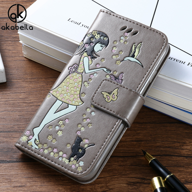 AKABEILA Luminous Painted Cover Cases For Samsung Galaxy J7 Prime On7 2016 On Nxt G610F G610F/DS Case PU Leather Card Holder