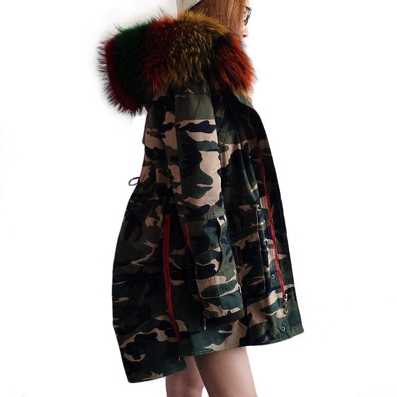 Maomaokong 2017 Winter army green  Coats Women Jackets Real Large Raccoon Fur Collar Thick Dovetail Ladies Down & Parkas carburetor suit for kinroad 1100cc buggy xt100 buggy