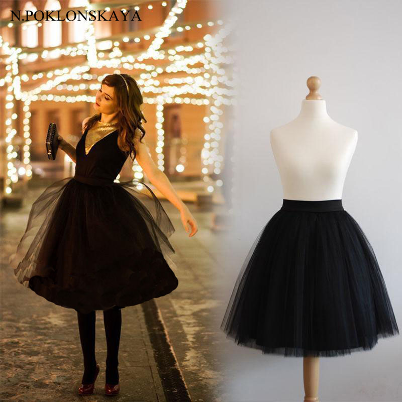 N.POKLONSKAYA 6 Layer Tulle Princess Skirt Elastic High Waist Midi Plus Size Skirts Womens Tutu Bridesmaid Petticoat Saia Faldas