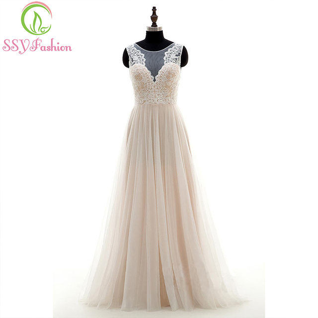 SSYFashion New Simple Evening Dress Banquet Elegant Floor-length Lace  Embroidery Beige Prom Party Gown Custom Formal Dresses cc7e08f7e23b