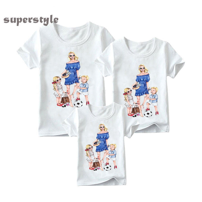 Summer 2019 Matching Family Outfits Mom Daughter Dad Son Print Boys Girls Funny T-shirt Clothes Kids&Woman Super Family Tshirt