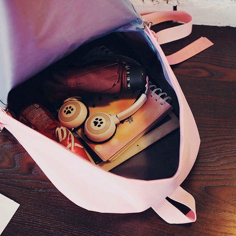 Fashion Wanita Klasik Ransel Tahan Air Oxford Kain Warna Solid Tas Sekolah Canta Perjalanan Bahu Tas