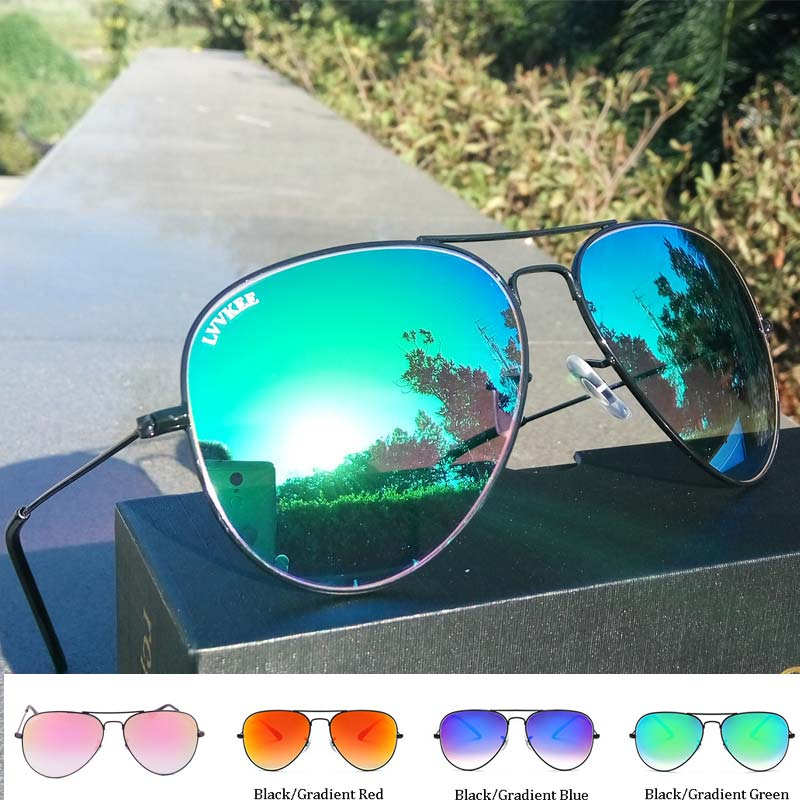 high quality Glass Lens Gradient sunglasses women/men Pilot sunglasses Mirror 62MM uv400 Prevent blue 3026