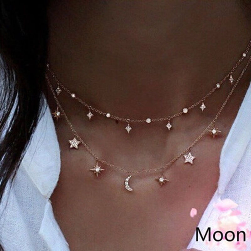 Gold Color Choker Necklace For Women Alloy Chain Moon Star Pendant Necklace Chocker Collier Femme Colar Female Jewelry