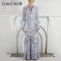GALCAUR Summer Sequin Patchwork Dresses For Women V Neck Flare Long Sleeve Ruffles A Line Party Dress Female Fashion New 2019