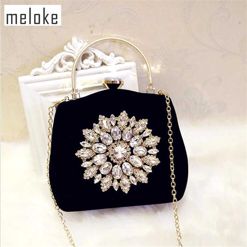 Detail Feedback Questions about Meloke 2019 new diamond sun flowers evening  bags luxury wedding clutch bags for girls party dinner bags with chain  MN861 on ... 83a4977870fd