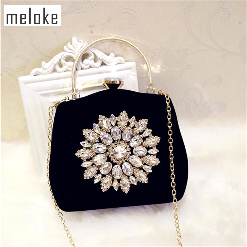 Meloke 2019 New Diamond Sun Flowers Evening Bags Luxury Wedding Clutch Bags For Girls Party Dinner Bags With Chain MN861