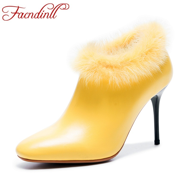 FACNDINLL ankle boots for women new fashion genuine leather high thin heels real fur shoes woman dress party zipper riding boots facndinll shoes 2017 genuine leather women ankle boots sexy thick high heels pointed toe lace up shoes woman dress party shoes