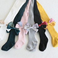 Baby Girl Super Stretch Leggings Big Bow Knot Pantyhose Four Seasons Toddler Child Knitting Trousers 0-7Y
