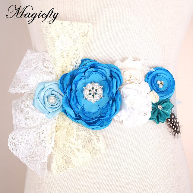 Blue rosette Flower with feather Sash Belt Photo Prop Baby girl birthda lace Flower Belt Bridal Wedding Accessories 120pcs
