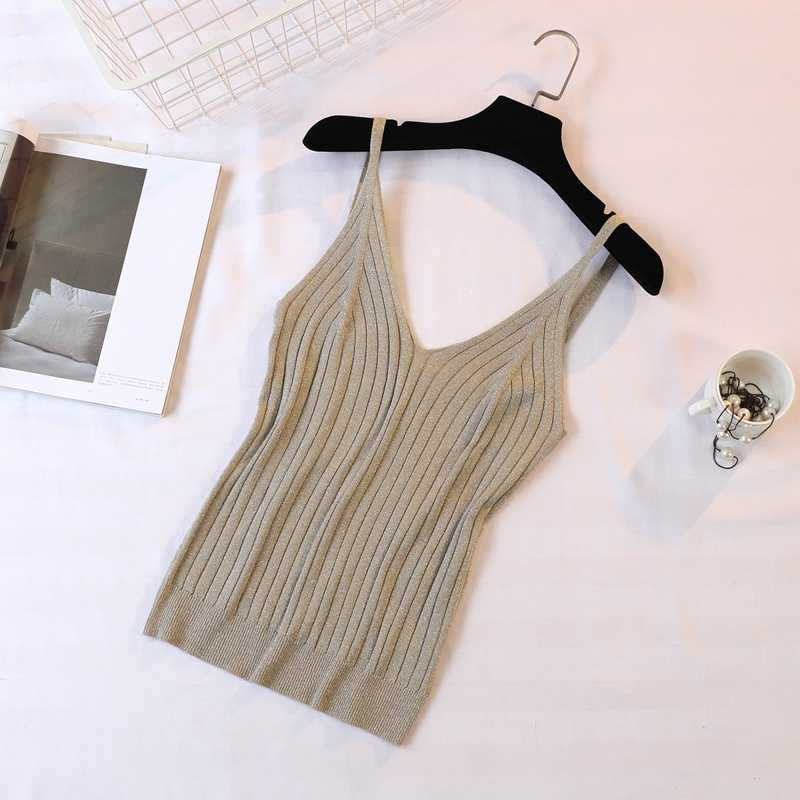 1039b6e3cab99 ... Gold Thread Crop Tops Women 2018 Knitted Tank Tops Sexy Top Vest Summer  Camisole Women White ...