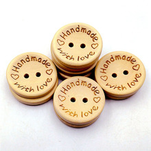 100Pcs/lot Natural Color Wooden Buttons handmade love Letter wood button craft DIY baby apparel accessories