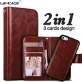 2 em 1 destacável capa para iphone 5s case slot para cartão de carteira de couro case coque para iphone 5s 6 6 s plus 7 7 além de cinta do telefone case