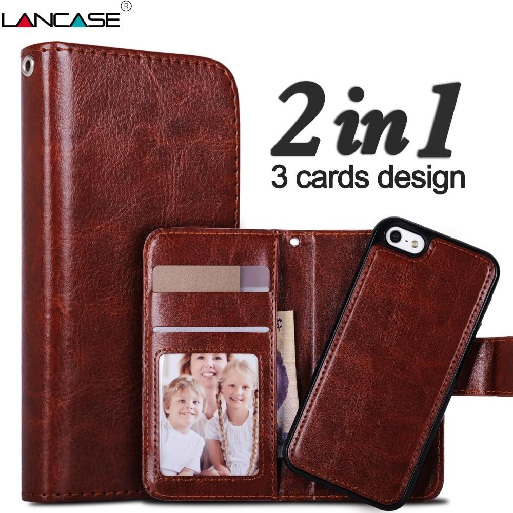 LANCASE za iPhone 5S ovitek snemljiva usnjena denarnica Coque za - Dodatki in nadomestni deli za mobilne telefone