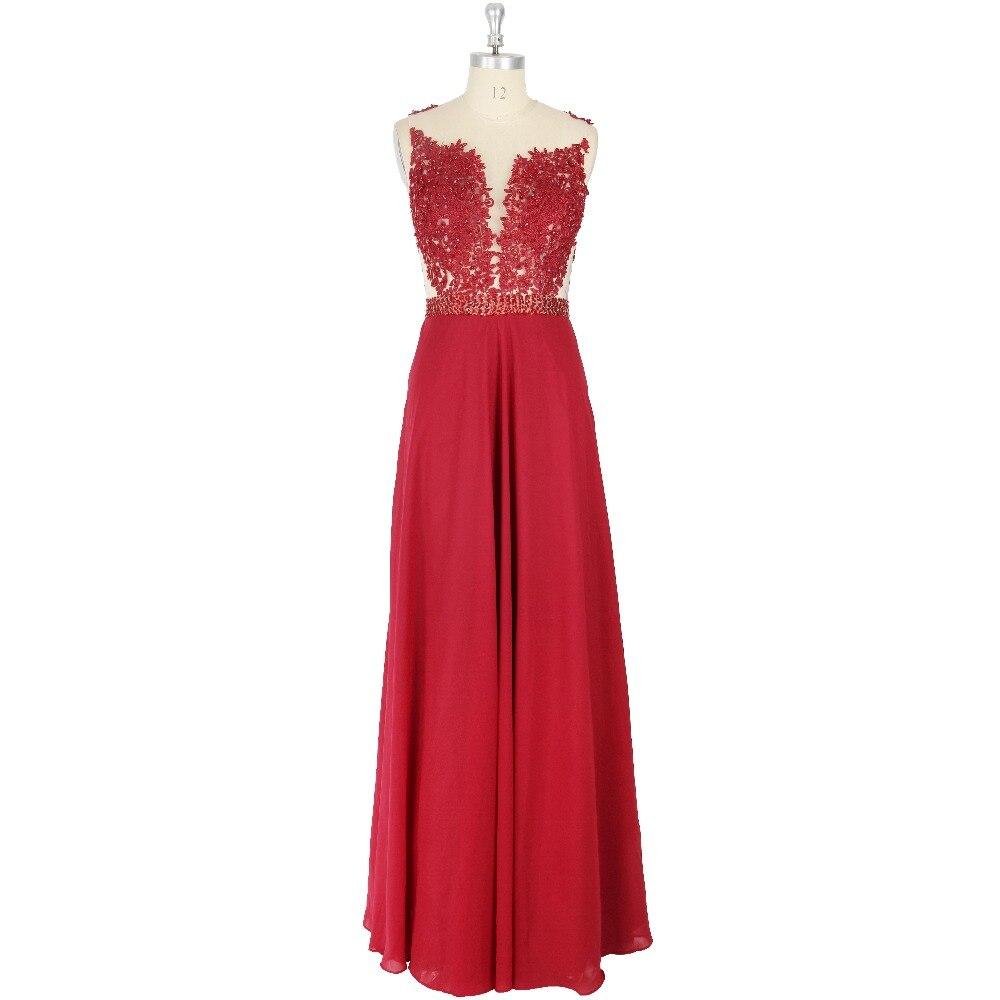 Red Applique Beading Button Scoop A-Line Floor-Length Zipper   Prom     Dress   Formal Event
