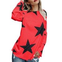 KANCOOLD T Shirt Cute Winter Full Sleeve Clothes Print Stars Loose Casual Basic T Shirt Slash