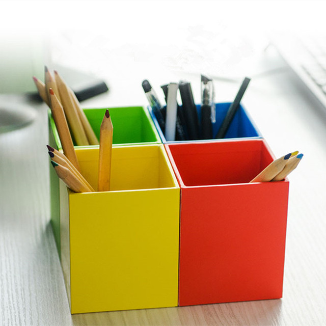 Incroyable Eco Friendly Wood Pen Containers Multi Use Colorful Office Desk Organizer  Creative Sundries/
