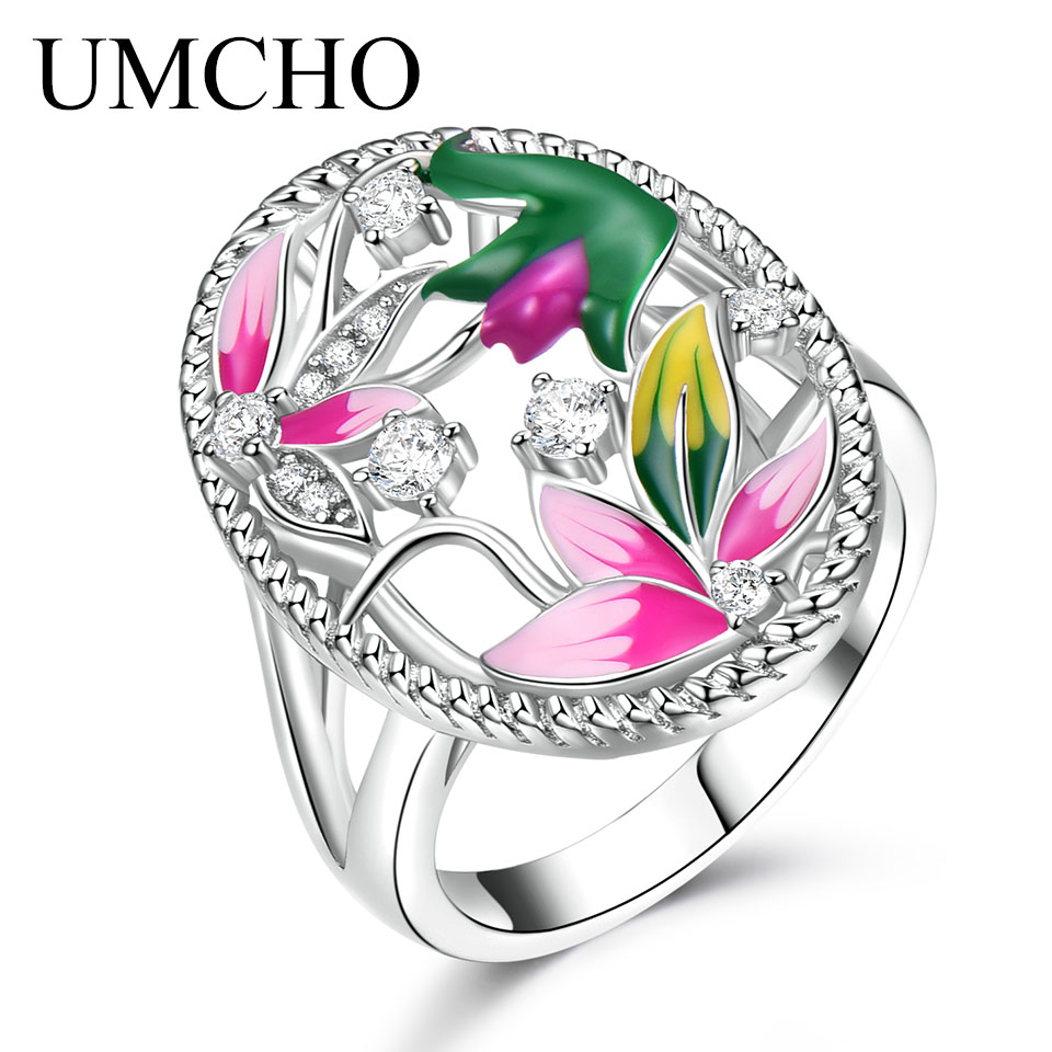 UMCHO Handmade Colorful Enamel Rings for Women Solid 925 Sterling Silver Flower Lotus r Party Fashion Mothers Day Gift JewelryUMCHO Handmade Colorful Enamel Rings for Women Solid 925 Sterling Silver Flower Lotus r Party Fashion Mothers Day Gift Jewelry