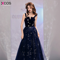 Sexy Prom Dresses 2019 Blue A line Deep V neck Strapless Tulle Long Party Dress Elegant Formal Gowns Vestido Formatura