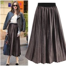 New Suede Kilt Plus Size Midi Women Skirt Europe And American Style Loose Elastic High Waist Ladies Jupe Elegant Saia V227(China)