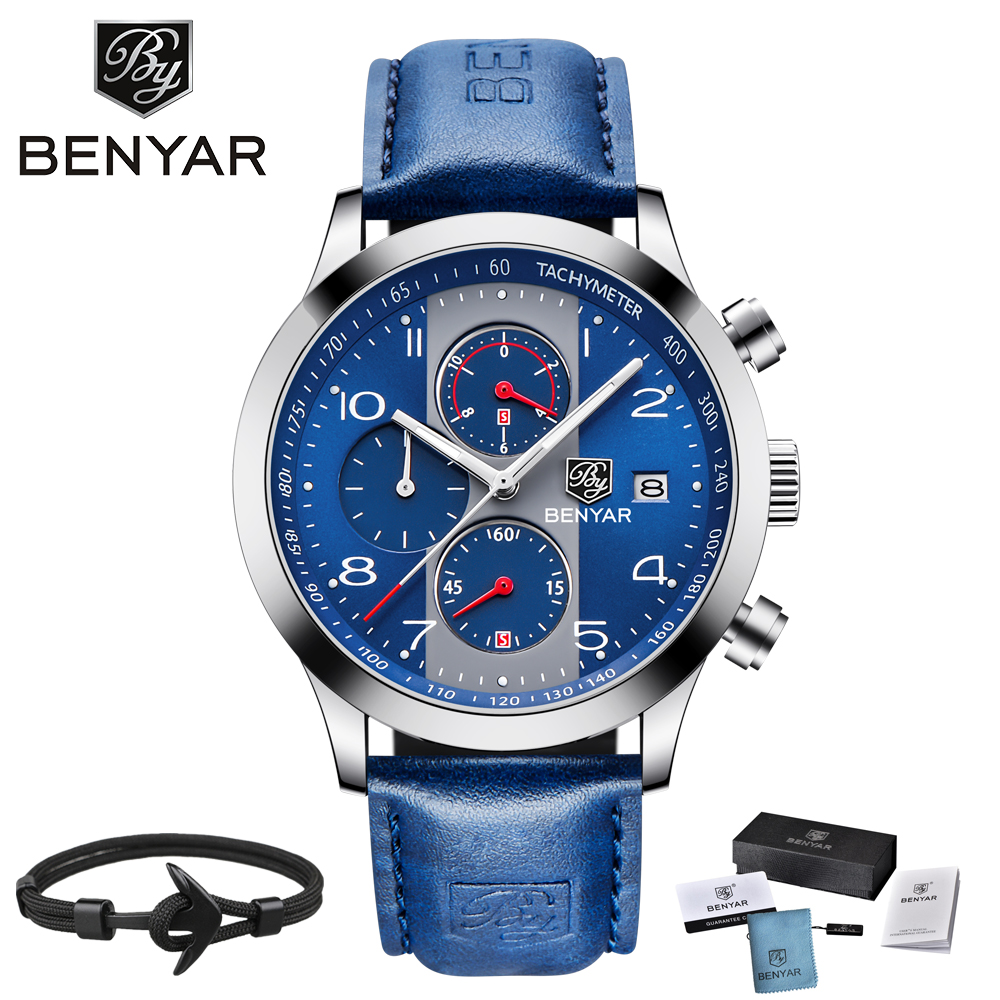 BENYAR 2018 Sport Quartz Watch Men Genuine Leather Strap Chronograph Mens Watches Top Brand Luxury Male Clock Relogio Masculino genuine jedir quartz male watches genuine leather watches racing men students game run chronograph watch male glow hands