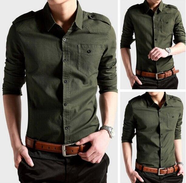 2015 de style militaire minces occasionnels simples boutonnage classique  pour hommes chemise à manches longues chemise