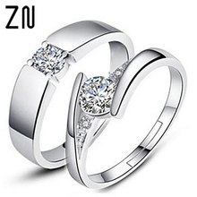 d0263f47d1 ZN 5mm Hearts and Arrows Cubic Zirconia Wedding Couple Ring Silver Color  Classical Finger Ring(