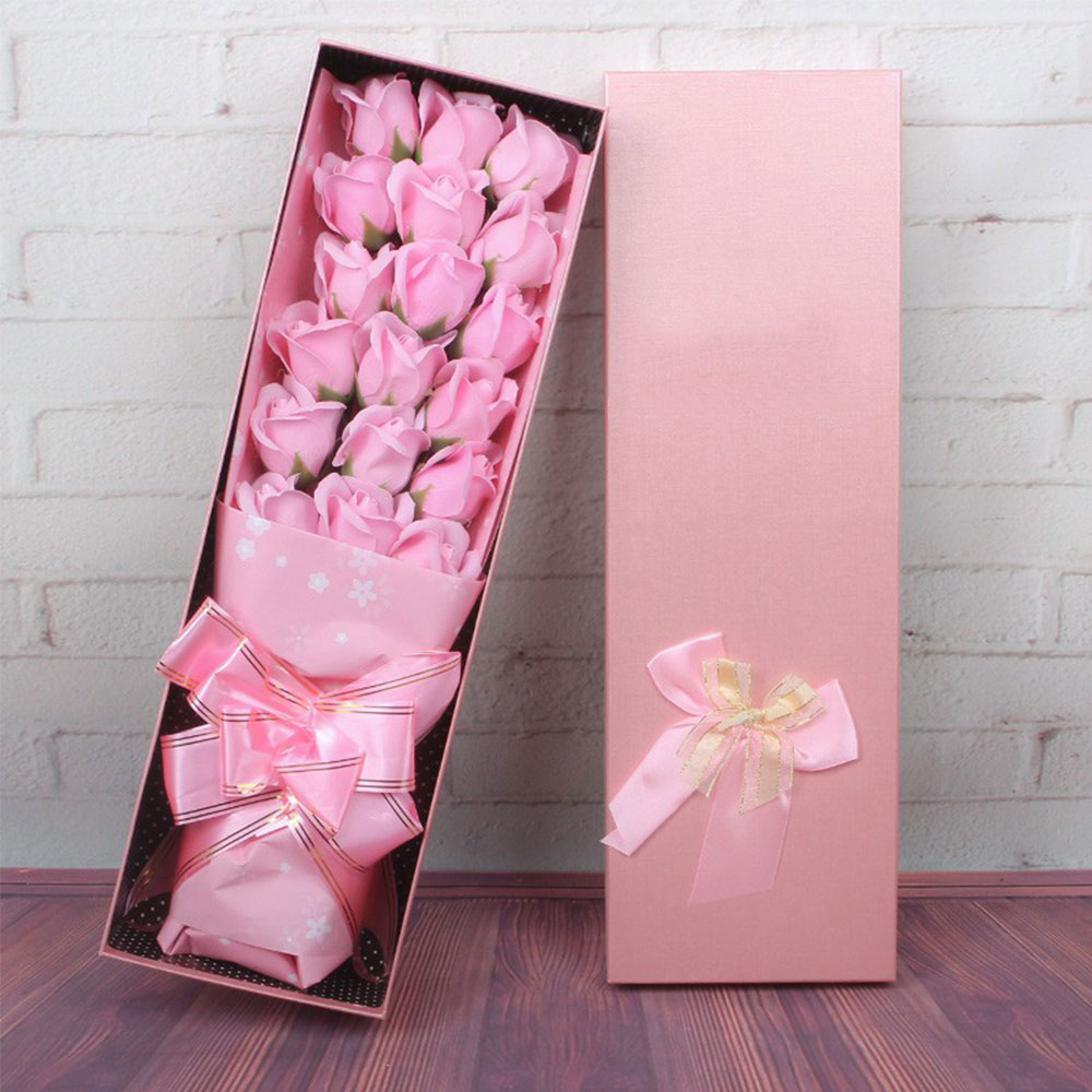 Мыло в Форме Розы Ароматизированный цветок розы в подарочной упаковке 18 шт. вечность c розами, подарок на праздник поздравление День Святого Валентина подарок украшение - Цвет: pink