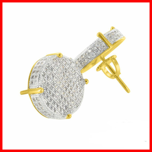 2016 high quality micro pave cz bling bling yellow gold men earring