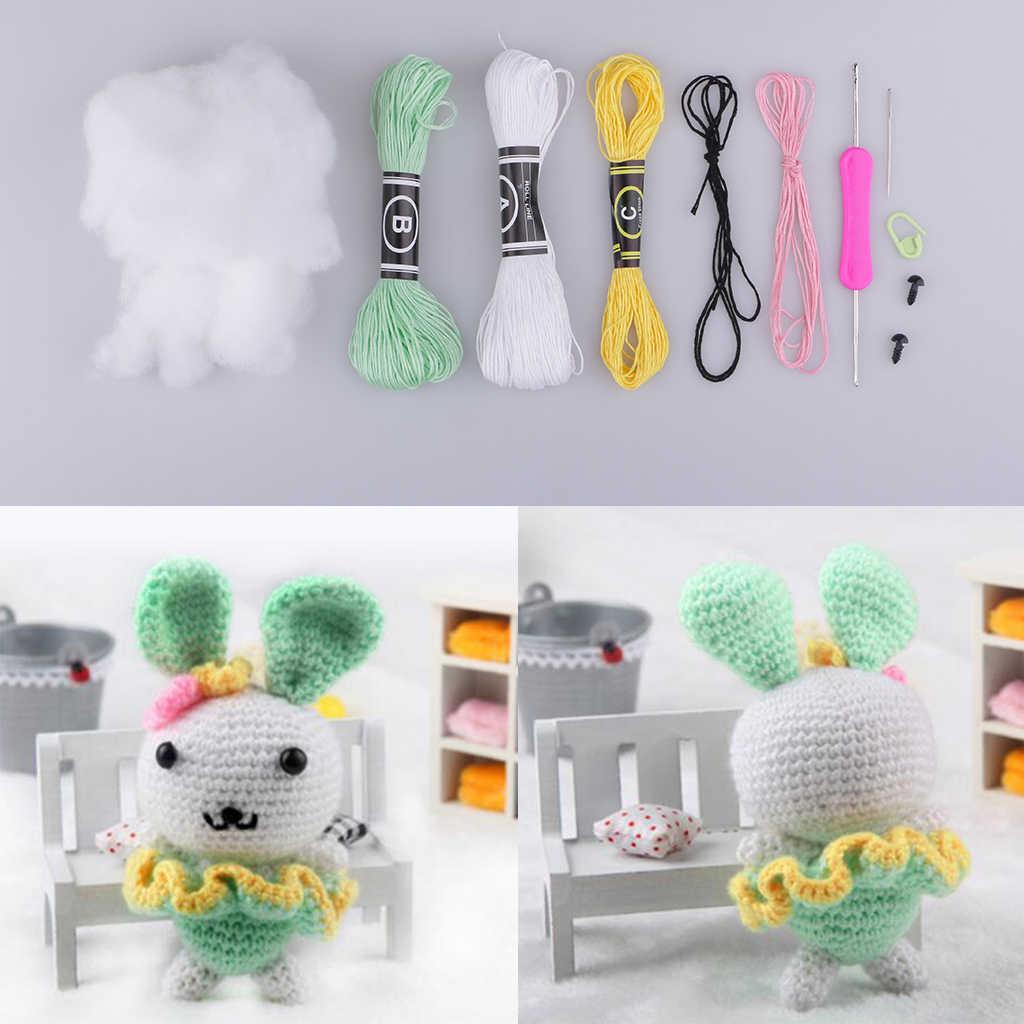 Kit de tricot lapin vert Amigurumi | Kit de tricot de Crochet de haute 15cm matériel de poupée en peluche