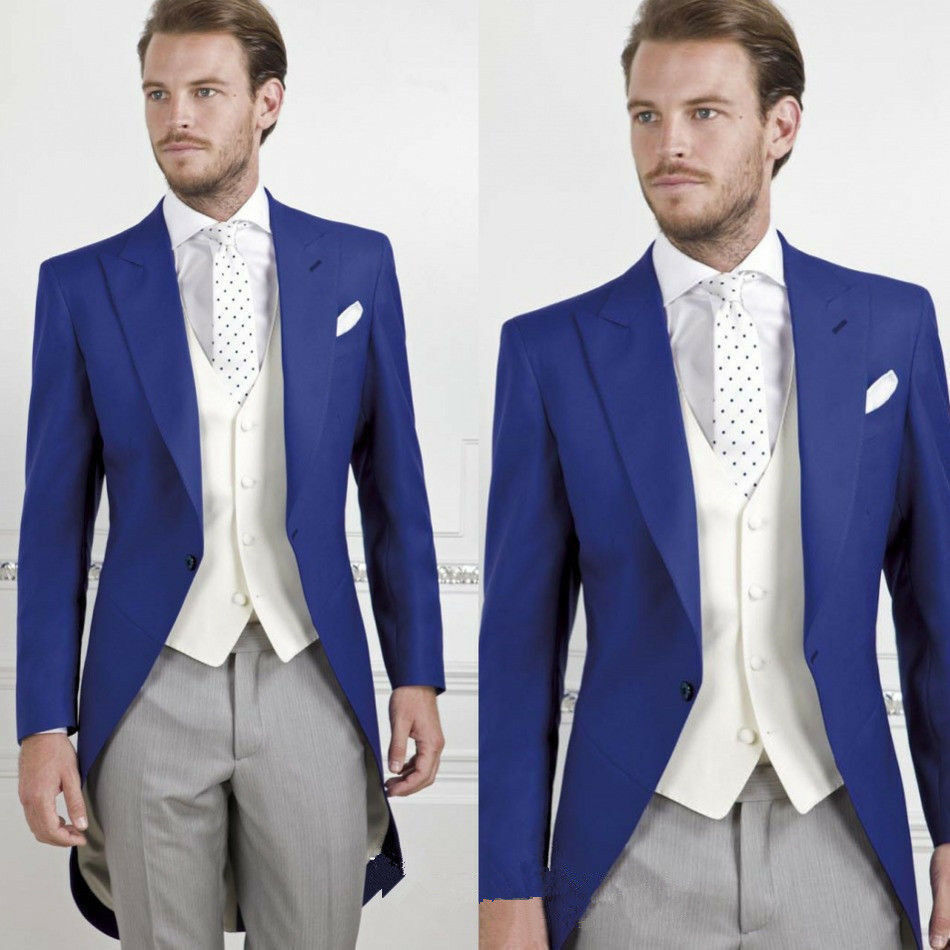 Custom Made 3PCS Tail Coat Classis Formal Occasion Slim Fit Groom Tuxedos Suits