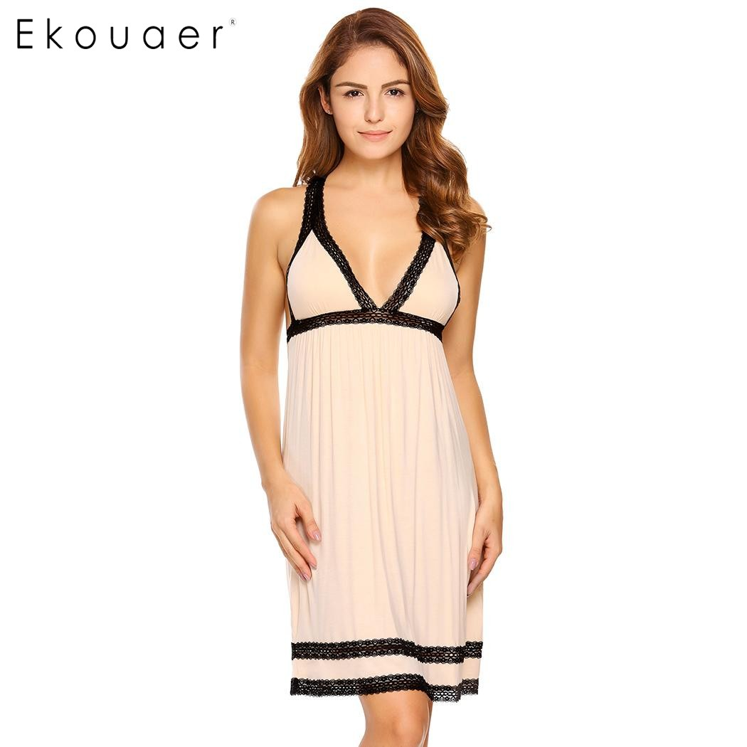 Ekouaer Sexy Backless Strappy Nightgown V-Neck Contrast Color Lace Patchwork Chemise Sleepwear High Waist Sleeveless Nightwear