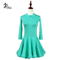 Girls Doll Collar Latin Samba Dance Competition Dress Long Sleeve Candy Color Latin Leotard Standard Costumes For Girls