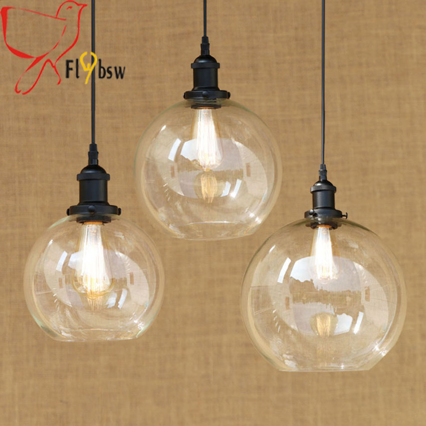 Vintage clear glass ball pendant lamp dia 20 25 30cm lampshade edison bulbs vintage hanging lighting