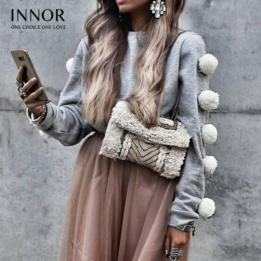 INNOR Autumn winter women and pullovers korean style long sleeve casual crop slim solid knitted jumpers sweter