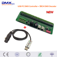 DHL Free Shipping 30 Channel Easy DMX LED Controller Dmx Decoder Driver And USB DMX PC