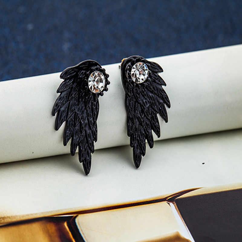 2019 新しい女性パンク誘惑クリスタルファッションイミテーションパールクリスタルフラワーリーフハートアーチ天使の翼のイヤリングファッションジュエリー